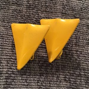 80s baby yellow bright enamel clip earrings geo!